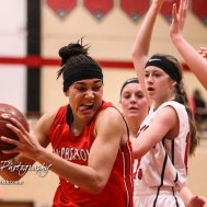 McPherson Lady Bullpup #40 Mandi Cooks moves hard to the basket. The McPherson Lady Bullpups defeated the Great Bend Lady Panthers with a score of 69 to 38 at the Great Bend High School Fieldhouse in Great Bend, Kansas on February 7, 2017. (Photo: Joey Bahr, www.joeybahr.com)