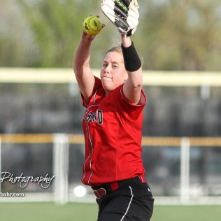 Great Bend Lady Panther #13 Hunter Marcum winds up for a pitch in the Top of the 2nd Inning. The Great Bend Lady Panthers defeated the Dodge City Lady Demons 15 to 5 at the Great Bend Sports Complex in Great Bend, Kansas on April 18, 2017. (Photo: Joey Bahr, www.joeybahr.com)