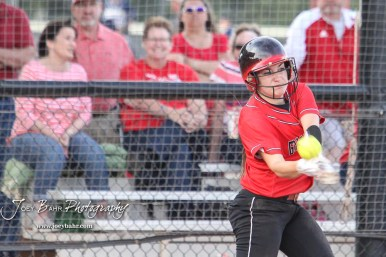 Great Bend Lady Panther #24 Mikayla Bownes fouls off a pitch in the Bottom of the 2nd Inning. The Great Bend Lady Panthers defeated the Dodge City Lady Demons 15 to 5 at the Great Bend Sports Complex in Great Bend, Kansas on April 18, 2017. (Photo: Joey Bahr, www.joeybahr.com)