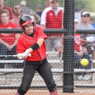 Great Bend Lady Panther #24 Mikayla Bownes swings at a pitch in the Bottom of the 3rd Inning. The Great Bend Lady Panthers defeated the Dodge City Lady Demons 15 to 5 at the Great Bend Sports Complex in Great Bend, Kansas on April 18, 2017. (Photo: Joey Bahr, www.joeybahr.com)
