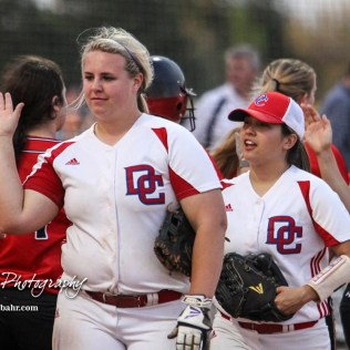 Members of the Great Bend Lady Panthers and Dodge City Lady Demons shake hands at the conclusion of the game. The Great Bend Lady Panthers defeated the Dodge City Lady Demons 15 to 5 at the Great Bend Sports Complex in Great Bend, Kansas on April 18, 2017. (Photo: Joey Bahr, www.joeybahr.com)