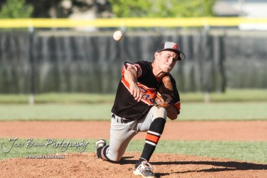 Ellis Railroader #16 Brevin LaBarge throws a pitch in the top of the third inning. The Bluestem Lions defeated the Ellis Railroaders 8 to 5 in the KSHSAA Class 2-1A State Baseball Championship game at Great Bend Sports Complex in Great Bend, Kansas on May 26, 2017. (Photo: Joey Bahr, www.joeybahr.com)