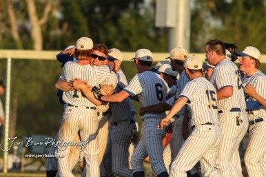Members of the Bluestem Lions celebrate their victory in the game and winning the State Championship. The Bluestem Lions defeated the Ellis Railroaders 8 to 5 in the KSHSAA Class 2-1A State Baseball Championship game at Great Bend Sports Complex in Great Bend, Kansas on May 26, 2017. (Photo: Joey Bahr, www.joeybahr.com)