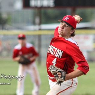 Hoisington Cardinal #4 Jeremy Breit throws a pitch in the top of the first inning. The Pratt Greenbacks defeated the Hoisington Cardinals 12 to 0 at Bicentennial Park in Hoisington, Kansas on May 9, 2017. (Photo: Joey Bahr, www.joeybahr.com)