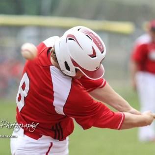 Hoisington Cardinal #8 Hunter Hanzlick fouls off a pitch in the bottom of the first inning. The Pratt Greenbacks defeated the Hoisington Cardinals 12 to 0 at Bicentennial Park in Hoisington, Kansas on May 9, 2017. (Photo: Joey Bahr, www.joeybahr.com)