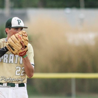 Pratt Greenback #22 Kaden Evert prepares his pitch in the bottom of the third inning. The Pratt Greenbacks defeated the Hoisington Cardinals 12 to 0 at Bicentennial Park in Hoisington, Kansas on May 9, 2017. (Photo: Joey Bahr, www.joeybahr.com)