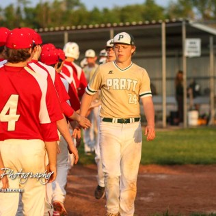 Members of the Hoisington Cardinals and Pratt Greenbacks shake hands following the end of the game. The Pratt Greenbacks defeated the Hoisington Cardinals 12 to 0 at Bicentennial Park in Hoisington, Kansas on May 9, 2017. (Photo: Joey Bahr, www.joeybahr.com)