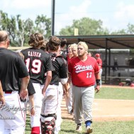 Members of the Hays Eagles and Great Bend Chiefs shake hand following the game. The Great Bend American Legion Post 180 AAA Chiefs defeated the Hays American Legion Post 173 AAA Eagles 3 to 1 to advance to the AAA Zone 8 Championship at the Great Bend Sports Complex in Great Bend, Kansas on July 15, 2017. (Photo: Joey Bahr, www.joeybahr.com)