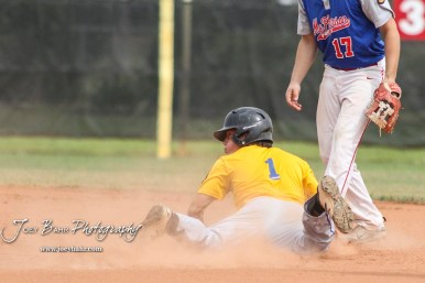 Hutchinson Colt Brody Smith (#1) slides into second base in the top of the first inning. The McPherson American Legion Post 24 AAA Seniors defeated the Hutchinson American Legion Post 68 AAA Colts 6 to 4 to advance to the AAA Zone 8 Championship at the Great Bend Sports Complex in Great Bend, Kansas on July 15, 2017. (Photo: Joey Bahr, www.joeybahr.com)