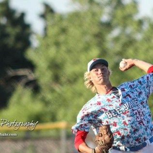 Liberal Bee Jay Sam Beattie (#33) throws a pitch in the bottom of the third inning. The Great Bend Batcats won the second game of the series with the Liberal Bee Jays 8 to 3 at Al Burns Memorial Field in Great Bend, Kansas on July 8, 2017. (Photo: Joey Bahr, www.joeybahr.com)