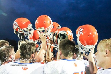 The Otis-Bison Cougars breakdown after the game. The Otis-Bison Cougars defeated the St. John Tigers by a score of 58 to 0 at St. John High School in St. John, Kansas on September 1, 2017. (Photo: Joey Bahr, www.joeybahr.com)