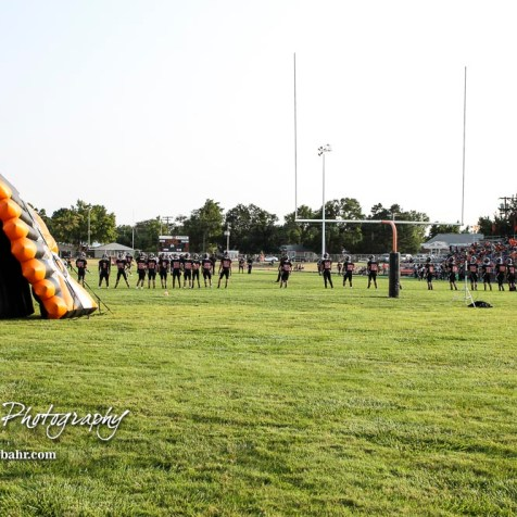 The Larned Indians warmup prior to the start of the game. The Larned Indians defeated the Smoky Valley Vikings by a score of 28 to 14 at Earl Roberts Stadium in Larned, Kansas on September 8, 2017. (Photo: Joey Bahr, www.joeybahr.com)