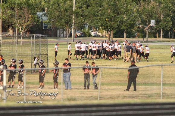 Due to Homecoming festivities, both teams moved over to a side field for warm ups. The Larned Indians defeated the Smoky Valley Vikings by a score of 28 to 14 at Earl Roberts Stadium in Larned, Kansas on September 8, 2017. (Photo: Joey Bahr, www.joeybahr.com)