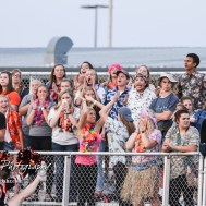 The Smoky Valley Viking student section celebrates the scoring of a touchdown in the second quarter. The Larned Indians defeated the Smoky Valley Vikings by a score of 28 to 14 at Earl Roberts Stadium in Larned, Kansas on September 8, 2017. (Photo: Joey Bahr, www.joeybahr.com)