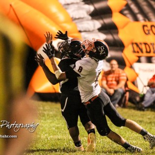 Smoky Valley Viking Tim Lambert (#8) looses the best positioning to catch a pass to Larned Indian Anthony Mcconnell (#1) in the third quarter. The Larned Indians defeated the Smoky Valley Vikings by a score of 28 to 14 at Earl Roberts Stadium in Larned, Kansas on September 8, 2017. (Photo: Joey Bahr, www.joeybahr.com)
