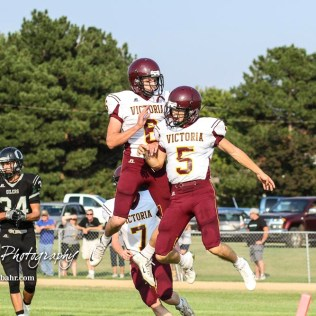 Victoria Knights #6 Caden Oberle and #5 Collin Kisner celebrate the scored of a touchdown by Kisner in the second quarter. The Victoria Knights defeated the Central Plains Oilers by a score of 34 to 8 at Central Plains High School in Claflin, Kansas on September 2, 2017. (Photo: Joey Bahr, www.joeybahr.com)
