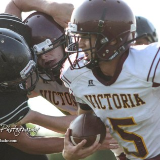 Victoria Knight #5 Collin Kisner rushes with the ball in the second quarter. The Victoria Knights defeated the Central Plains Oilers by a score of 34 to 8 at Central Plains High School in Claflin, Kansas on September 2, 2017. (Photo: Joey Bahr, www.joeybahr.com)