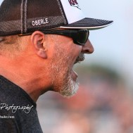 Victoria Knight Head Coach Doug Oberle calls out to his players in the fourth quarter. The Victoria Knights defeated the Central Plains Oilers by a score of 34 to 8 at Central Plains High School in Claflin, Kansas on September 2, 2017. (Photo: Joey Bahr, www.joeybahr.com)