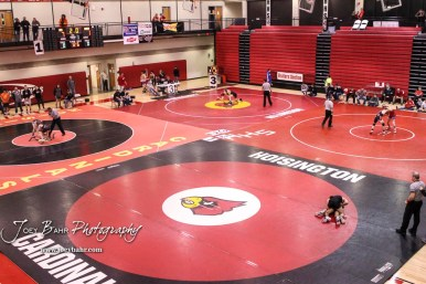 Wrestlers compete in the second round of the Cardinal Corner Classic Wrestling Tournament. The 2017 Cardinal Corner Classic Wrestling Tournament was held at Hoisington Activity Center in Hoisington, Kansas on December 15, 2017. (Photo: Joey Bahr, www.joeybahr.com)