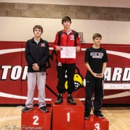 The 126 pound weight class finishers: First Place Blake Leiszler of Concordia, Second Place Ethan Crownover of Marysville, Third Place Skylar Burkes of Great Bend. The 2017 Cardinal Corner Classic Wrestling Tournament was held at Hoisington Activity Center in Hoisington, Kansas on December 15, 2017. (Photo: Joey Bahr, www.joeybahr.com)