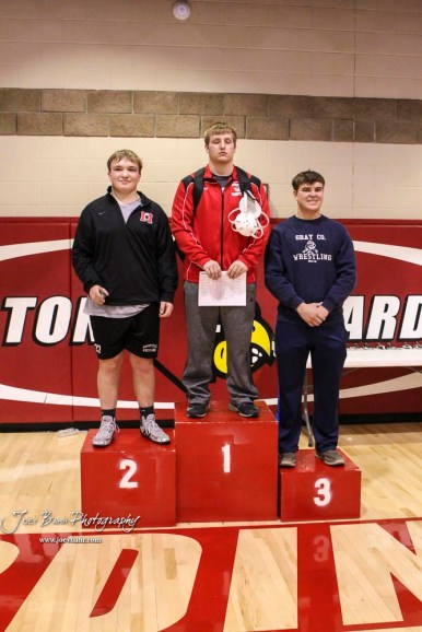 The 220 pound weight class finishers: First Place Brent Beaumont of Concordia, Second Place Kaleb Parker of Marysville, Third Place Derek Bogner of Cimarron. The 2017 Cardinal Corner Classic Wrestling Tournament was held at Hoisington Activity Center in Hoisington, Kansas on December 15, 2017. (Photo: Joey Bahr, www.joeybahr.com)