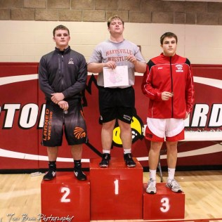 The 285 pound weight class finishers: First Place Seth Mooradian of Marysville, Second Place Jeremiah Slattery of Larned, Third Place Eyann Zimmerman of Concordia. The 2017 Cardinal Corner Classic Wrestling Tournament was held at Hoisington Activity Center in Hoisington, Kansas on December 15, 2017. (Photo: Joey Bahr, www.joeybahr.com)
