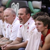 Hoisington Cardinal Head Coach Kyle Haxton calls out a play to his team. The Central Plains Oilers defeated Hoisington Cardinals by a score of 68 to 24 in a basketball game held at Central Plains High School in Claflin, Kansas on December 1, 2017. (Photo: Joey Bahr, www.joeybahr.com)
