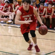 Hoisington Cardinal #24 Eric Barrett drives along the baseline. The Central Plains Oilers defeated Hoisington Cardinals by a score of 68 to 24 in a basketball game held at Central Plains High School in Claflin, Kansas on December 1, 2017. (Photo: Joey Bahr, www.joeybahr.com)