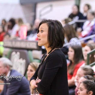 Hoisington Lady Cardinal Head Coach Mandy Mason reacts to a call. The Central Plains Lady Oilers defeated Hoisington Lady Cardinals by a score of 88 to 23 in a basketball game held at Central Plains High School in Claflin, Kansas on December 1, 2017. (Photo: Joey Bahr, www.joeybahr.com)