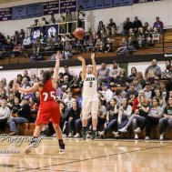 Central Plains Lady Oiler #2 Rachel Lamatsch shoots a three point shot. The Central Plains Lady Oilers defeated Hoisington Lady Cardinals by a score of 88 to 23 in a basketball game held at Central Plains High School in Claflin, Kansas on December 1, 2017. (Photo: Joey Bahr, www.joeybahr.com)