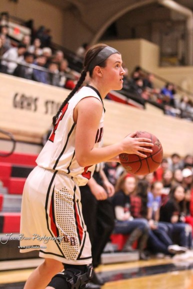 Great Bend Lady Panther #22 Carley Brack looks to take a three point shot. The Great Bend Lady Panthers defeated the Buhler Lady Crusaders by a score of 52 to 38 the Great Bend High School Field House in Great Bend, Kansas on January 12, 2018. (Photo: Joey Bahr, www.joeybahr.com)