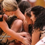 Two players each from the Buhler Lady Crusaders and Great Bend Lady Panthers grab for a loose ball. The Great Bend Lady Panthers defeated the Buhler Lady Crusaders by a score of 52 to 38 the Great Bend High School Field House in Great Bend, Kansas on January 12, 2018. (Photo: Joey Bahr, www.joeybahr.com)