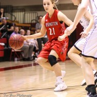 Hoisington Lady Cardinal #21 Suzanna Schneider brings the ball inside the arc. The LaCrosse Lady Leopards defeated the Hoisington Lady Cardinals by a score of 32 to 27 in the First Round of the 2018 Hoisington Winter Jam at the Hoisington Activity Center in Hoisington, Kansas on January 16, 2018. (Photo: Joey Bahr, www.joeybahr.com)