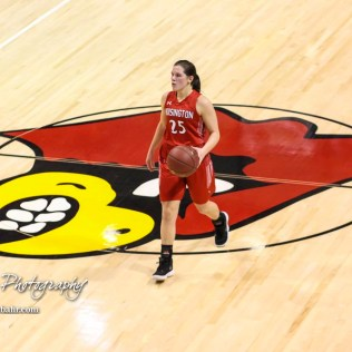 Hoisington Lady Cardinal #25 Maleigha Schmidt brings the ball across mid-court. The LaCrosse Lady Leopards defeated the Hoisington Lady Cardinals by a score of 32 to 27 in the First Round of the 2018 Hoisington Winter Jam at the Hoisington Activity Center in Hoisington, Kansas on January 16, 2018. (Photo: Joey Bahr, www.joeybahr.com)