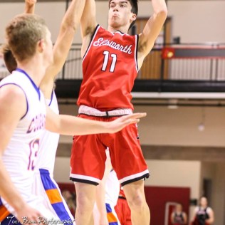 Ellsworth Bearcat #11 Chris Fitzgerald shoots a jump shot. The Ellsworth Bearcats defeated the Otis-Bison Cougars by a score of 58 to 37 in the Third Place game of the 2018 Hoisington Winter Jam at the Hoisington Activity Center in Hoisington, Kansas on January 20, 2018. (Photo: Joey Bahr, www.joeybahr.com)