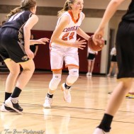 Otis-Bison Lady Cougar #22 Maddie Wiltse dribbles the ball as LaCrosse Lady Leopard #11 Kate Rues defends. The Otis-Bison Lady Cougars defeated the LaCrosse Lady Leopards by a score of 29 to 23 in the Semi-Final of the 2018 Hoisington Winter Jam at the Hoisington Activity Center in Hoisington, Kansas on January 19, 2018. (Photo: Joey Bahr, www.joeybahr.com)