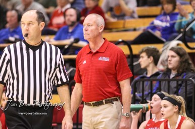 Russell Lady Bronco Head Coach Frank Schulte watches a play develop. The Russell Lady Broncos defeated the Otis-Bison Lady Cougars by a score of 54 to 34 in the Girls Championship game of the 2018 Hoisington Winter Jam at the Hoisington Activity Center in Hoisington, Kansas on January 20, 2018. (Photo: Joey Bahr, www.joeybahr.com)