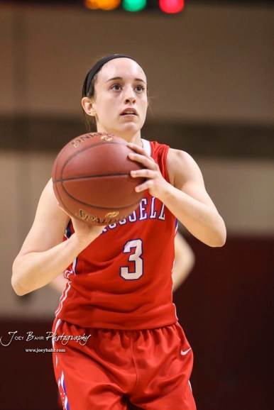 Russell Lady Bronco #3 Tiffany Dortland shoots a free throw attempt. The Russell Lady Broncos defeated the Otis-Bison Lady Cougars by a score of 54 to 34 in the Girls Championship game of the 2018 Hoisington Winter Jam at the Hoisington Activity Center in Hoisington, Kansas on January 20, 2018. (Photo: Joey Bahr, www.joeybahr.com)