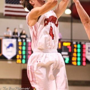 Hoisington Cardinal #4 Mason Haxton shoots a jump shot. The Hoisington Cardinals defeated the Pratt Greenbacks by a score of 47 to 41 in the Boys Championship game of the 2018 Hoisington Winter Jam at the Hoisington Activity Center in Hoisington, Kansas on January 20, 2018. (Photo: Joey Bahr, www.joeybahr.com)