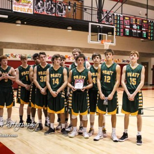 The Pratt Greenbacks pose with the second place trophy. The Hoisington Cardinals defeated the Pratt Greenbacks by a score of 47 to 41 in the Boys Championship game of the 2018 Hoisington Winter Jam at the Hoisington Activity Center in Hoisington, Kansas on January 20, 2018. (Photo: Joey Bahr, www.joeybahr.com)