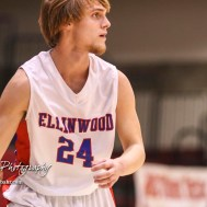 Ellinwood Eagle #24 Blake Garmam looks for a teammate to pass the ball to. The Russell Broncos defeated the Ellinwood Eagles by a score of 60 to 17 in the Consolation Semi-Final of the 2018 Hoisington Winter Jam at the Hoisington Activity Center in Hoisington, Kansas on January 18, 2018. (Photo: Joey Bahr, www.joeybahr.com)