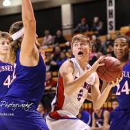 Ellinwood Eagle #2 David Hammeke looks to go for a shot as Russell Bronco #32 Brooks Nichols defends. The Russell Broncos defeated the Ellinwood Eagles by a score of 60 to 17 in the Consolation Semi-Final of the 2018 Hoisington Winter Jam at the Hoisington Activity Center in Hoisington, Kansas on January 18, 2018. (Photo: Joey Bahr, www.joeybahr.com)