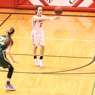 Russell Lady Bronco #3 Tiffany Dortland passes the ball to a teammate. The Russell Lady Broncos faced the Pratt Lady Greenbacks in the First Round of the 2018 Hoisington Winter Jam at the Hoisington High School in Hoisington, Kansas on January 16, 2018. (Photo: Joey Bahr, www.joeybahr.com)