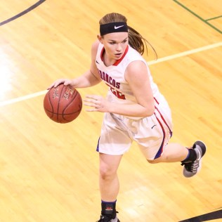 Russell Lady Bronco #22 Samantha Leiker looks for a teammate to pass the ball to. The Russell Lady Broncos faced the Pratt Lady Greenbacks in the First Round of the 2018 Hoisington Winter Jam at the Hoisington High School in Hoisington, Kansas on January 16, 2018. (Photo: Joey Bahr, www.joeybahr.com)