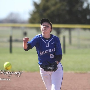Halstead Lady Dragon Callie Considine (#0) follows through on a pitch in the bottom of the third inning. The Hoisington Lady Cardinals defeated the Halstead Lady Dragons by a score of 12 to 2 in six innings at Logan Field in Hoisington, Kansas on April 27, 2018. (Photo: Joey Bahr, www.joeybahr.com)