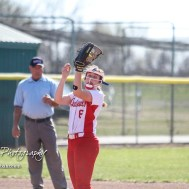 Hoisington Lady Cardinal Brooke Reif (#6) catches a fly ball in the infield during the top of the fourth inning. The Hoisington Lady Cardinals defeated the Halstead Lady Dragons by a score of 12 to 2 in six innings at Logan Field in Hoisington, Kansas on April 27, 2018. (Photo: Joey Bahr, www.joeybahr.com)