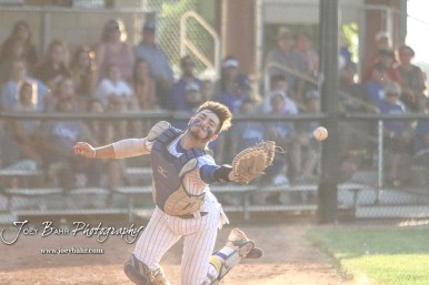 Bluestem Lion #3 Coy Moran reaches out for a pop foul ball in the bottom of the second inning. The Spearville Royal Lancers defeated the Bluestem Lions 5 to 1 in the KSHSAA Class 2-1A State Baseball Quarterfinal at the Great Bend Sports Complex in Great Bend, Kansas on May 24, 2018. (Photo: Joey Bahr, www.joeybahr.com)