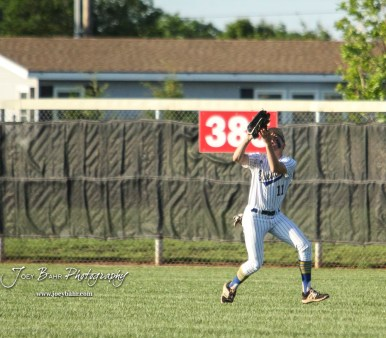 Bluestem Lion #11 Hunter Clift lines up under a fly ball in the bottom of the second inning. The Spearville Royal Lancers defeated the Bluestem Lions 5 to 1 in the KSHSAA Class 2-1A State Baseball Quarterfinal at the Great Bend Sports Complex in Great Bend, Kansas on May 24, 2018. (Photo: Joey Bahr, www.joeybahr.com)