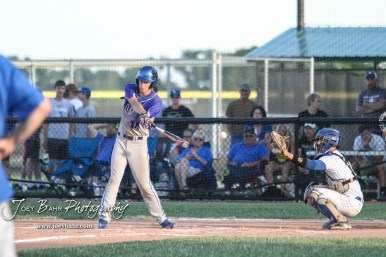 Spearville Royal Lancer #14 Wyatt Stimpert swings at a pitch in the bottom of the fourth inning. The Spearville Royal Lancers defeated the Bluestem Lions 5 to 1 in the KSHSAA Class 2-1A State Baseball Quarterfinal at the Great Bend Sports Complex in Great Bend, Kansas on May 24, 2018. (Photo: Joey Bahr, www.joeybahr.com)