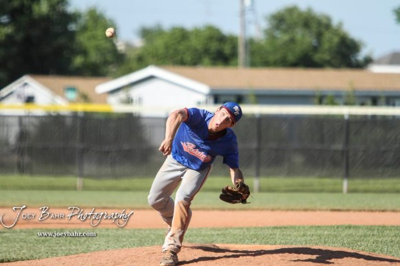 West Elk Patriot #14 Cade Miller pitches the ball in the top of the fourth inning. The Chase County Bulldogs defeated the West Elk Patriots 16 to 5 in the KSHSAA Class 2-1A State Baseball Quarterfinal at the Great Bend Sports Complex in Great Bend, Kansas on May 24, 2018. (Photo: Joey Bahr, www.joeybahr.com)